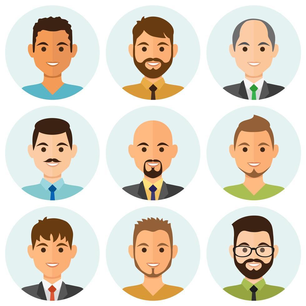 sourire, hommes affaires, gens, avatars vecteur