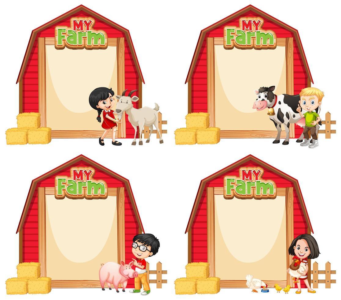 conception de modèle de frontière avec des enfants et des animaux de ferme vecteur