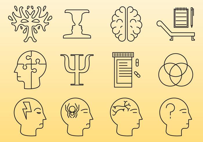 Icônes de ligne de psychologie vecteur