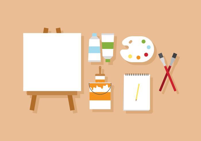 Peinture vectorielle et chevalet d'artiste vecteur