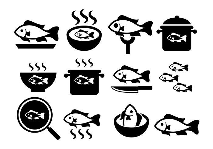 Icônes de vecteur de poisson frit