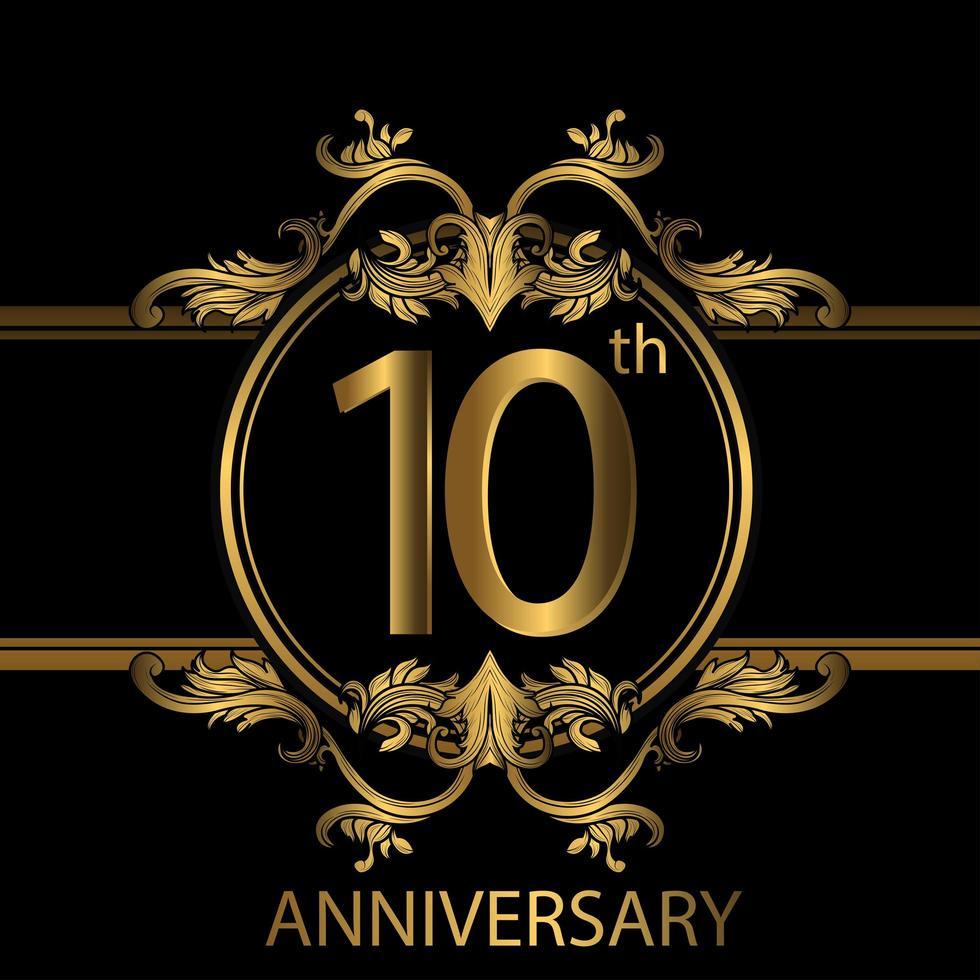 Emblème de luxe doré 10e anniversaire sur fond noir vecteur