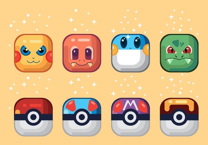 Icônes vectorielles Pokémon vecteur