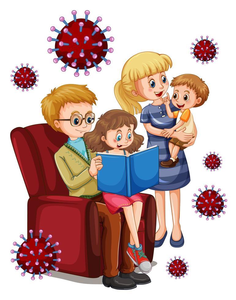 lire des membres de la famille dans la maison avec des cellules virales vecteur