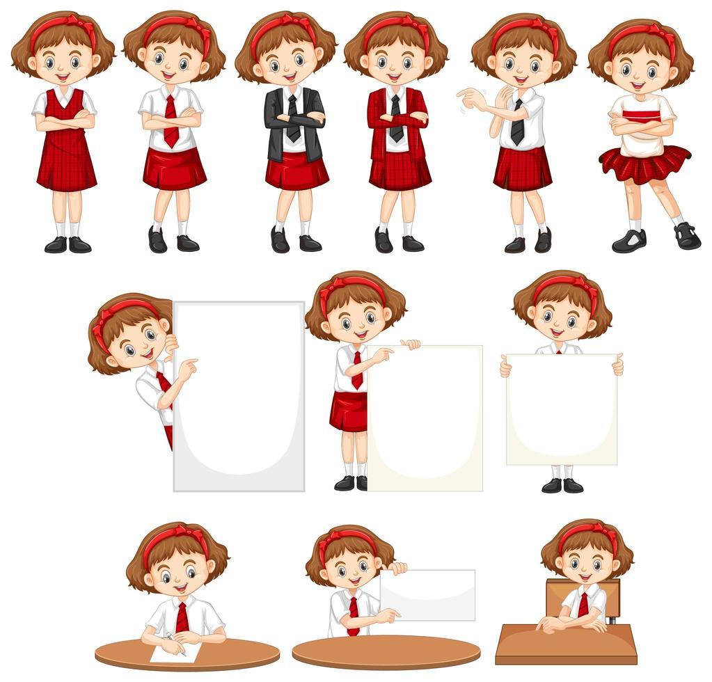 ensemble de filles en uniforme scolaire vecteur