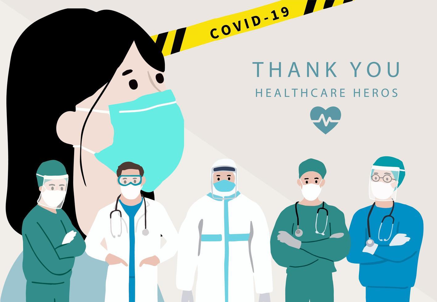 merci affiche des héros de la santé vecteur