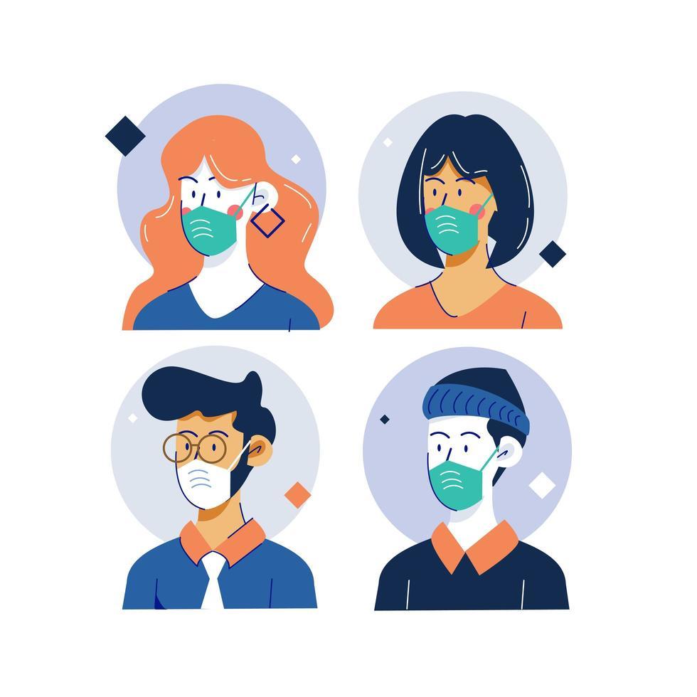 collection de personnes masquées sur cadre cercle vecteur