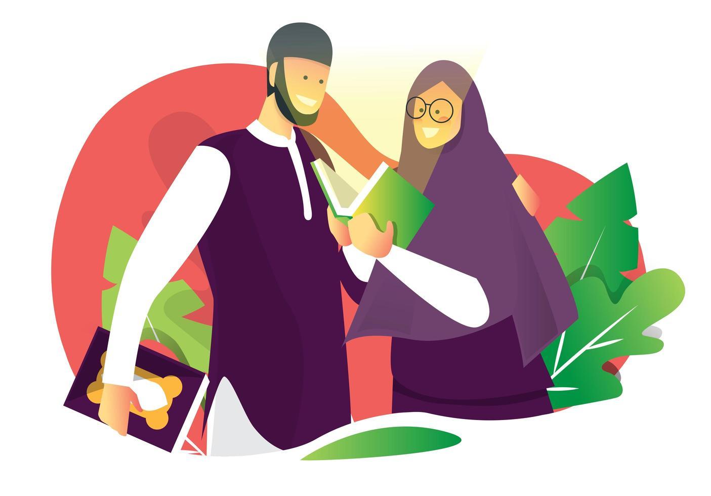 couple musulman qui lit vecteur