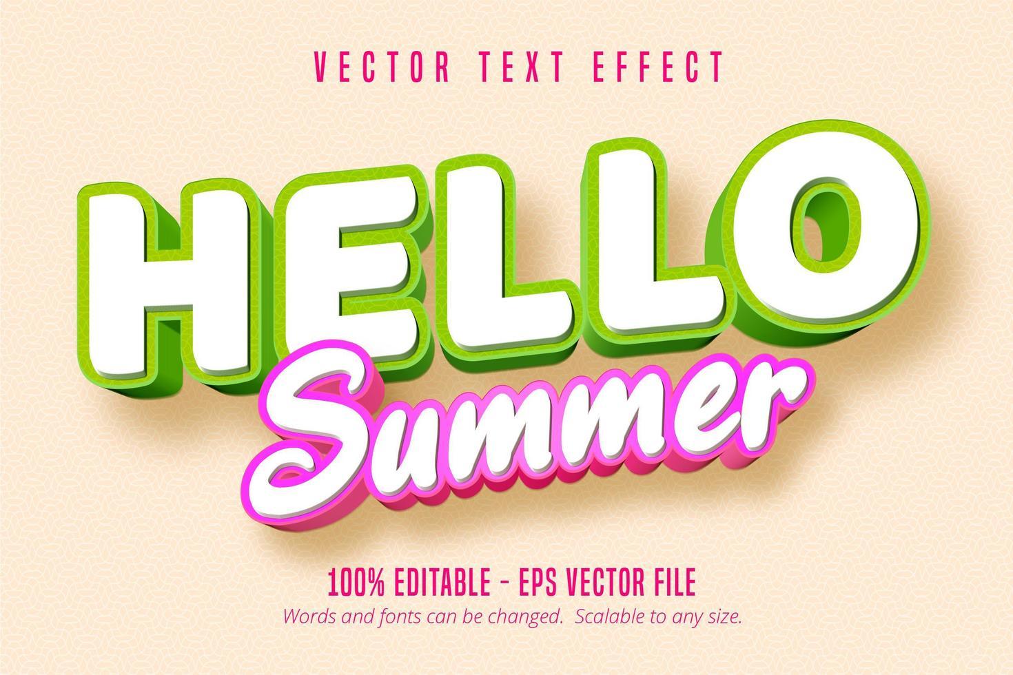 bonjour effet de texte contour vert et rose été vecteur
