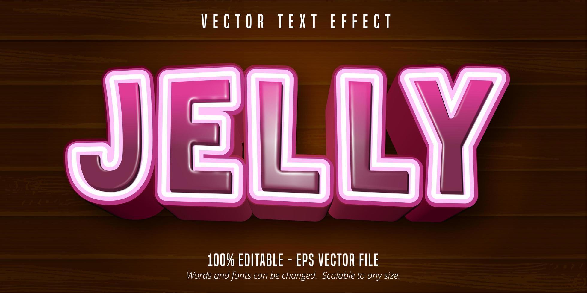 effet de texte de style dessin animé dégradé rose gelée vecteur
