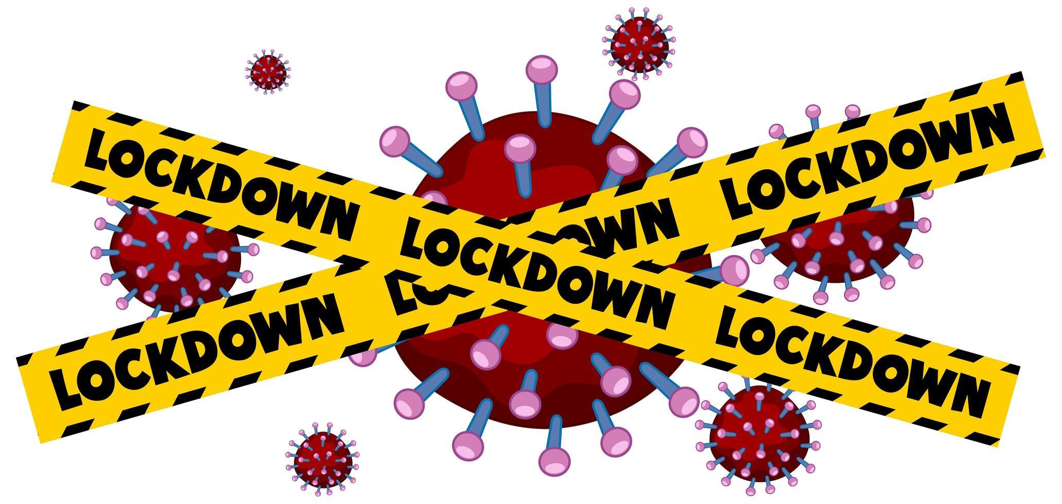 Ruban adhésif jaune et noir sur les cellules virales rouges vecteur