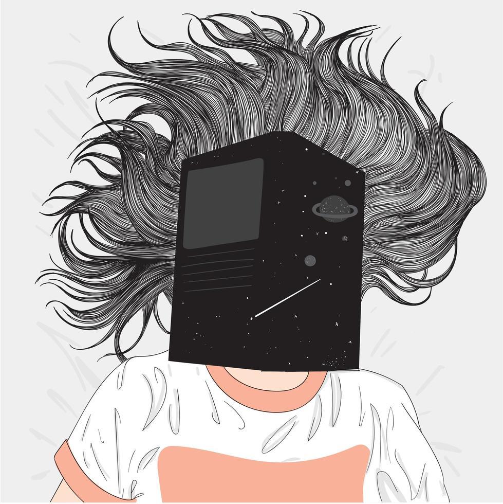 femme dessinée à la main dans son lit avec un livre sur le visage vecteur