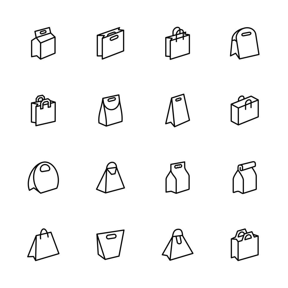 ensemble d'icônes de ligne de sac en papier vecteur
