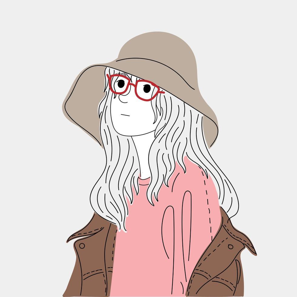 femme portant un grand chapeau vecteur