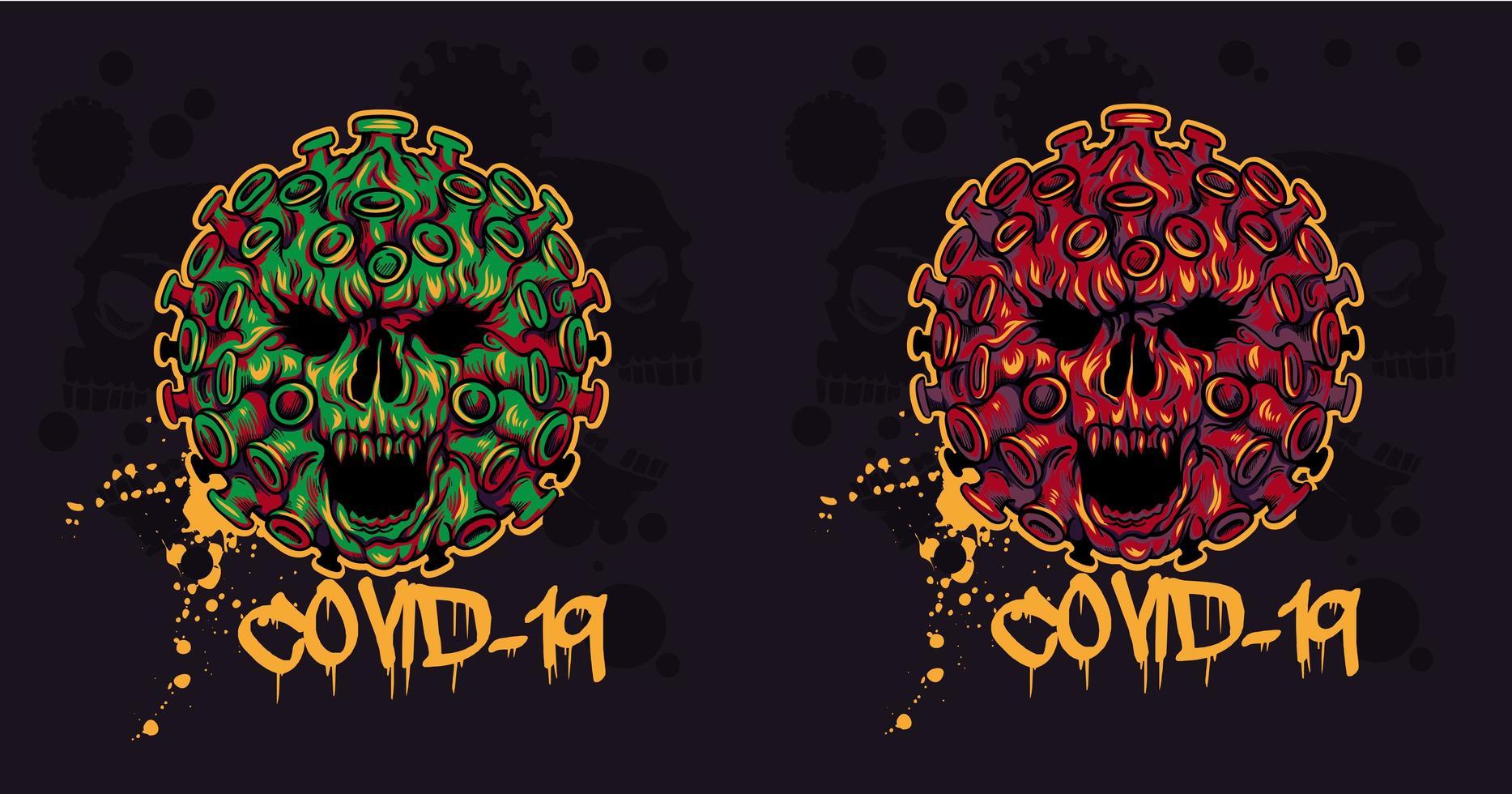 crânes de coronavirus maléfique pour les t-shirts vecteur