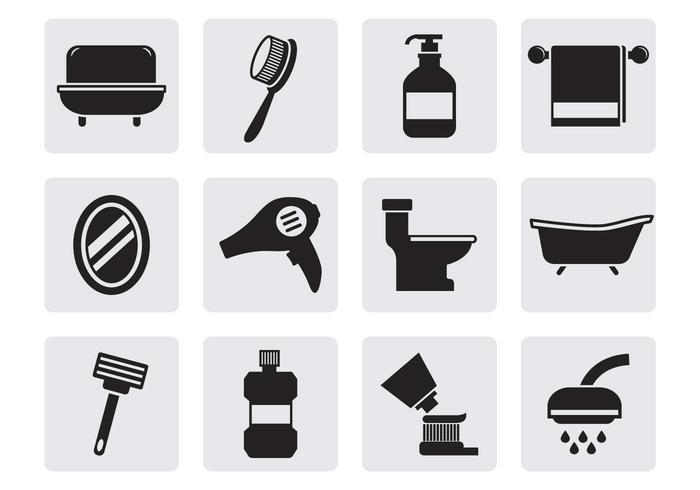 Vecteur d'icônes de salle de bain gratuit