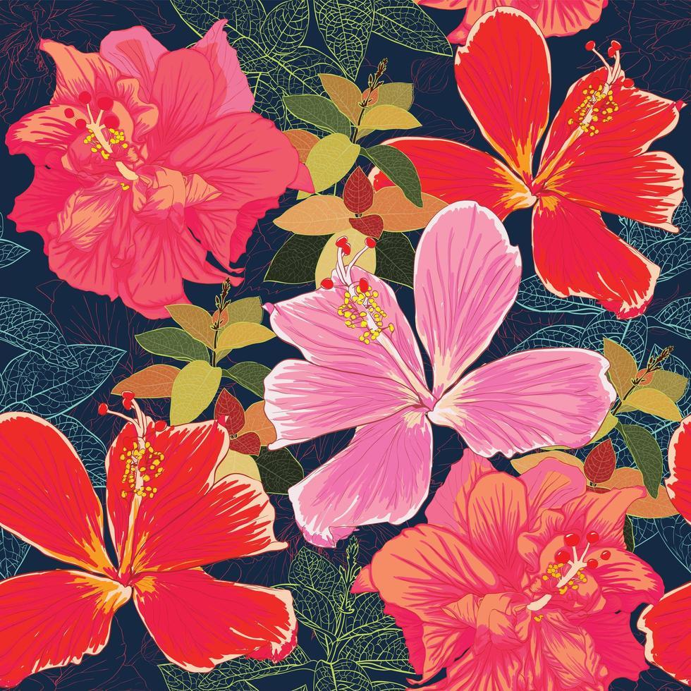 motif transparent hibiscus coloré fleurs-01.eps vecteur