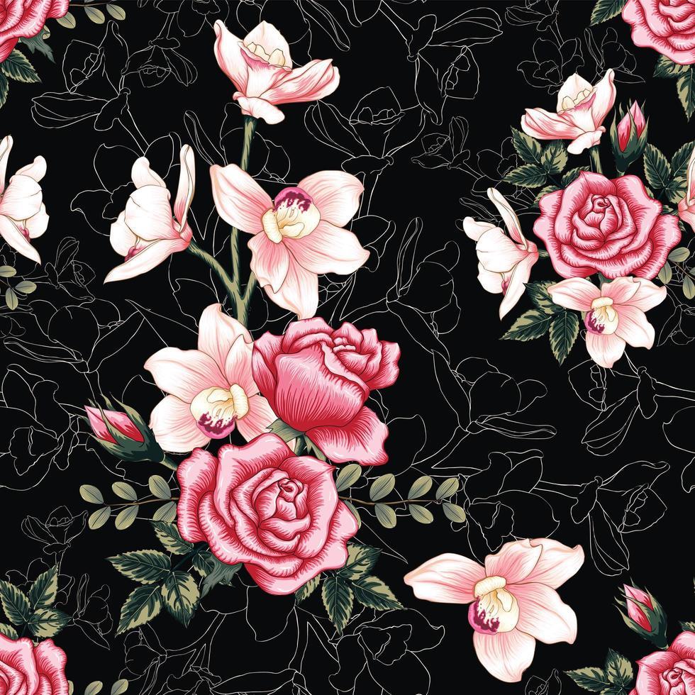 fleurs roses sur fond noir abstrait vecteur