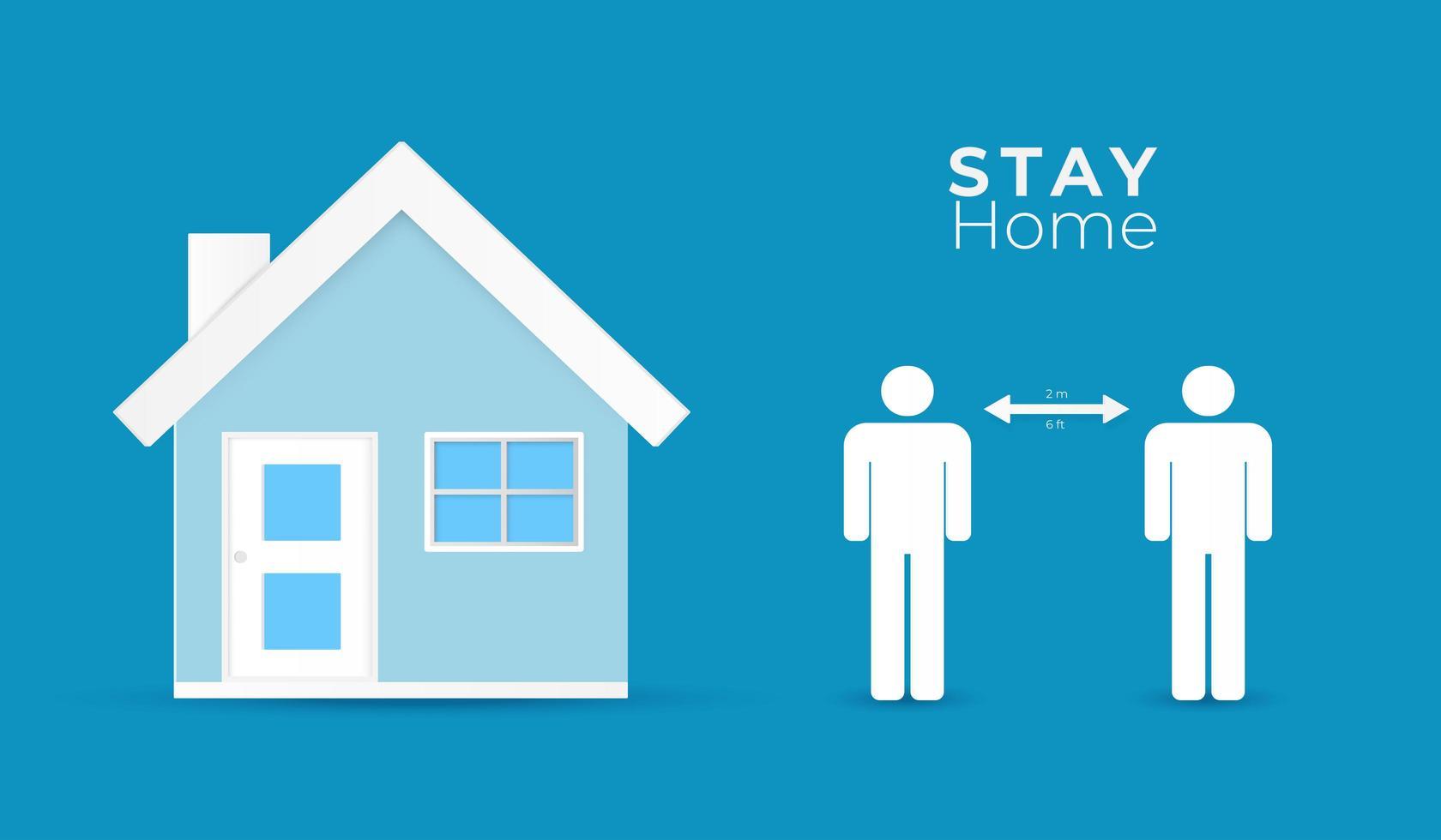 affiche rester à la maison et distanciation sociale vecteur