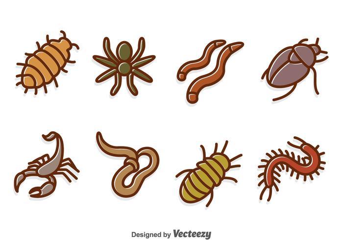 Ensemble de vecteur à insectes dessinés à la main