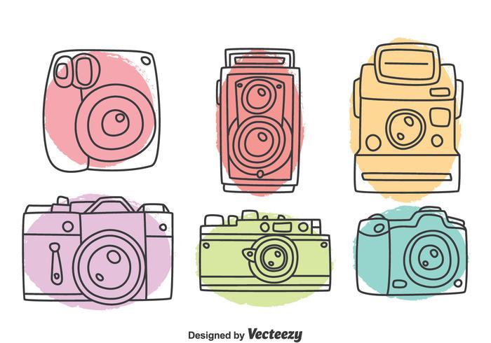 Collection de caméra dessinée à la main vecteur