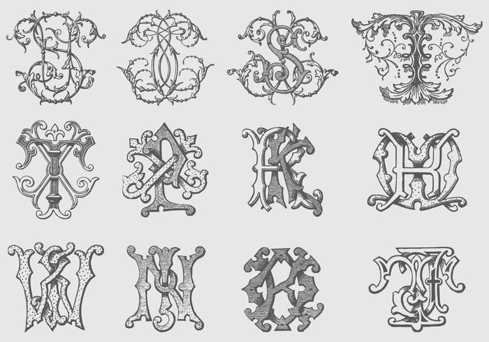 Monogrammes vintage vecteur