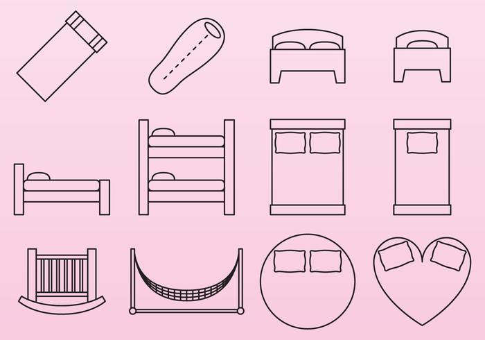 Icônes de lit vecteur