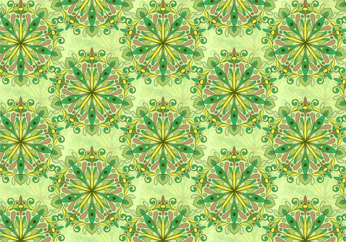 Modèle de mandala coloré au vecteur vert