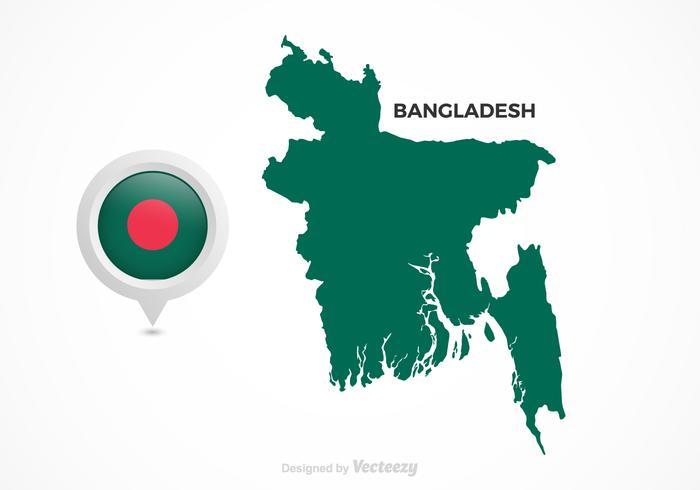 Vecteur libre bangladesh flag map pointer