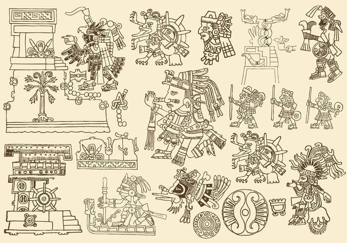 Dessins Aztèques Anciens vecteur