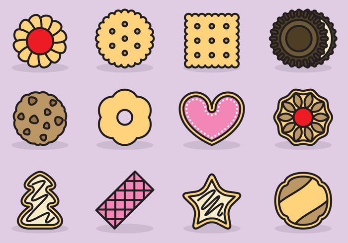 Icônes mignonnes de cookie vecteur