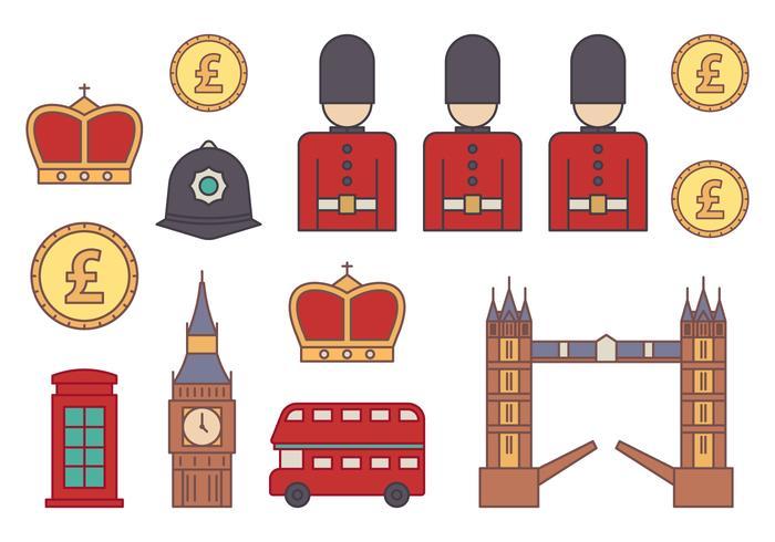 Ensemble d'icônes en Grande-Bretagne vecteur