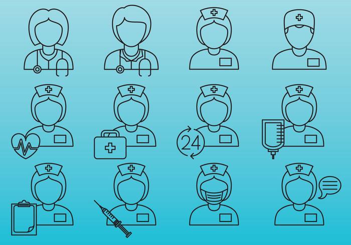 Icônes de ligne d'infirmière vecteur