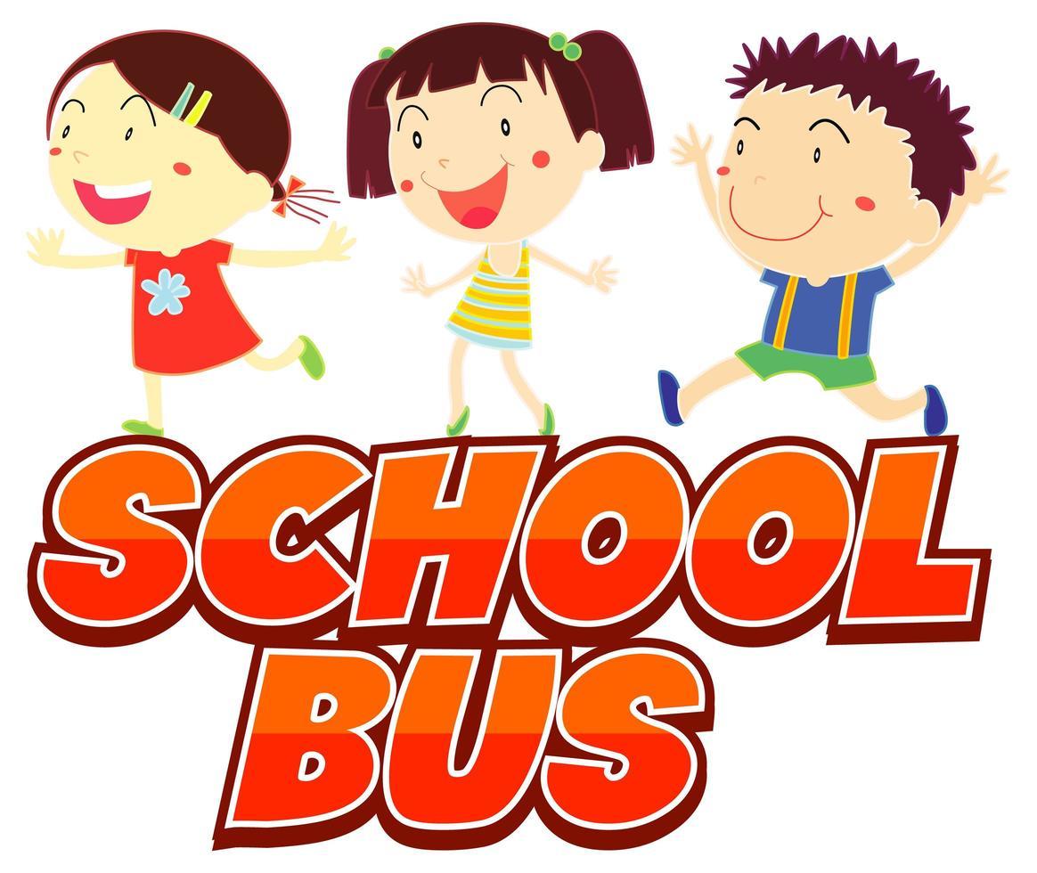 enfants prêts pour le bus scolaire vecteur