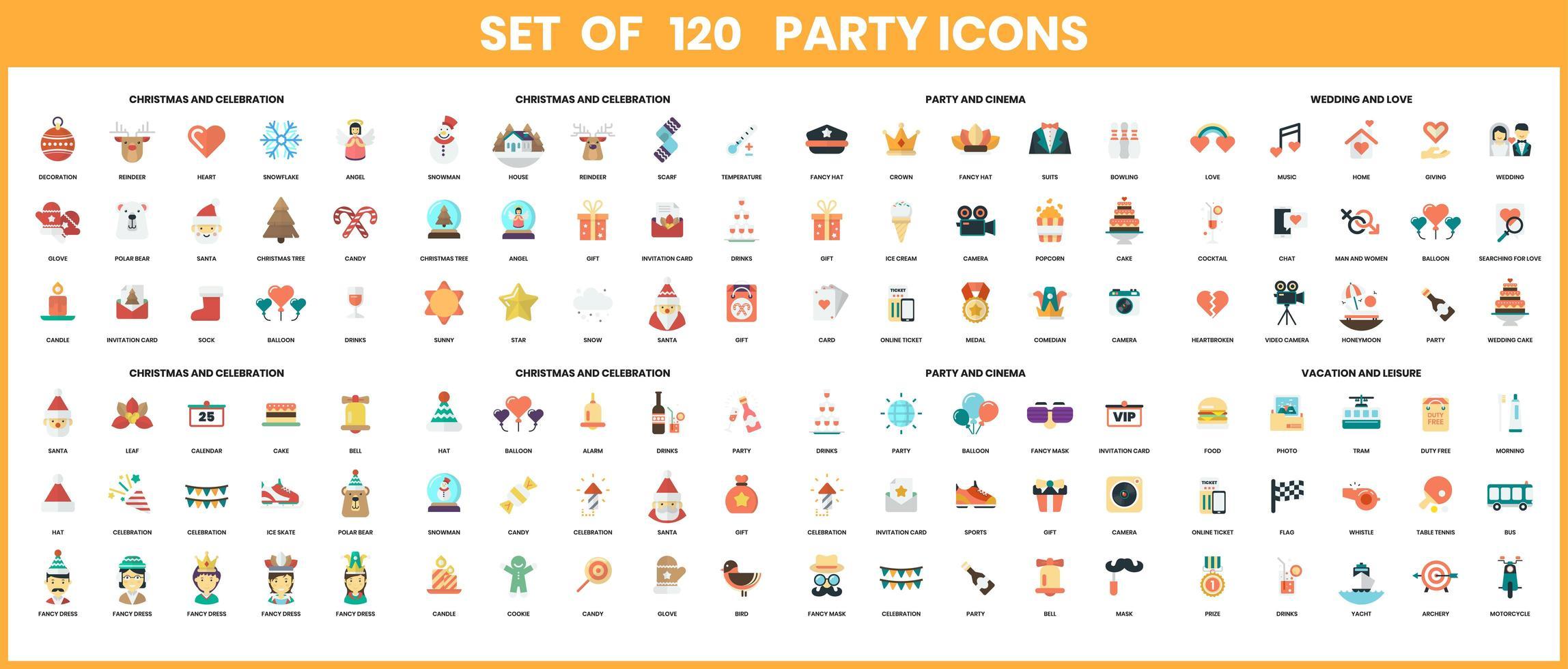 icônes de fête définies pour les entreprises vecteur