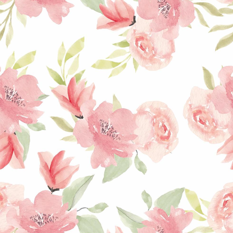 motif floral sans couture aquarelle fleur peinte à la main vecteur