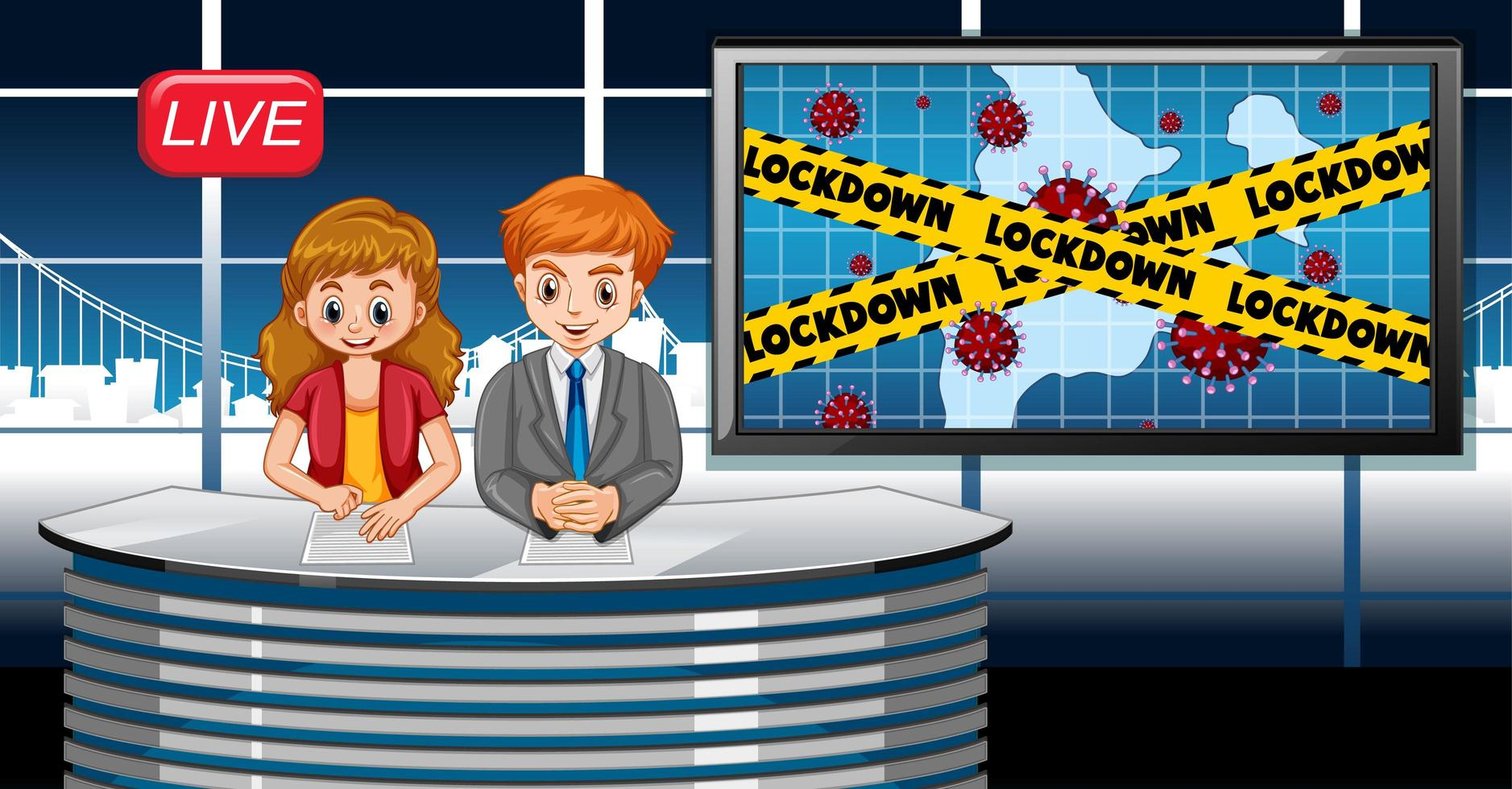 conception d'affiche de coronavirus avec newsreporter en direct en studio vecteur