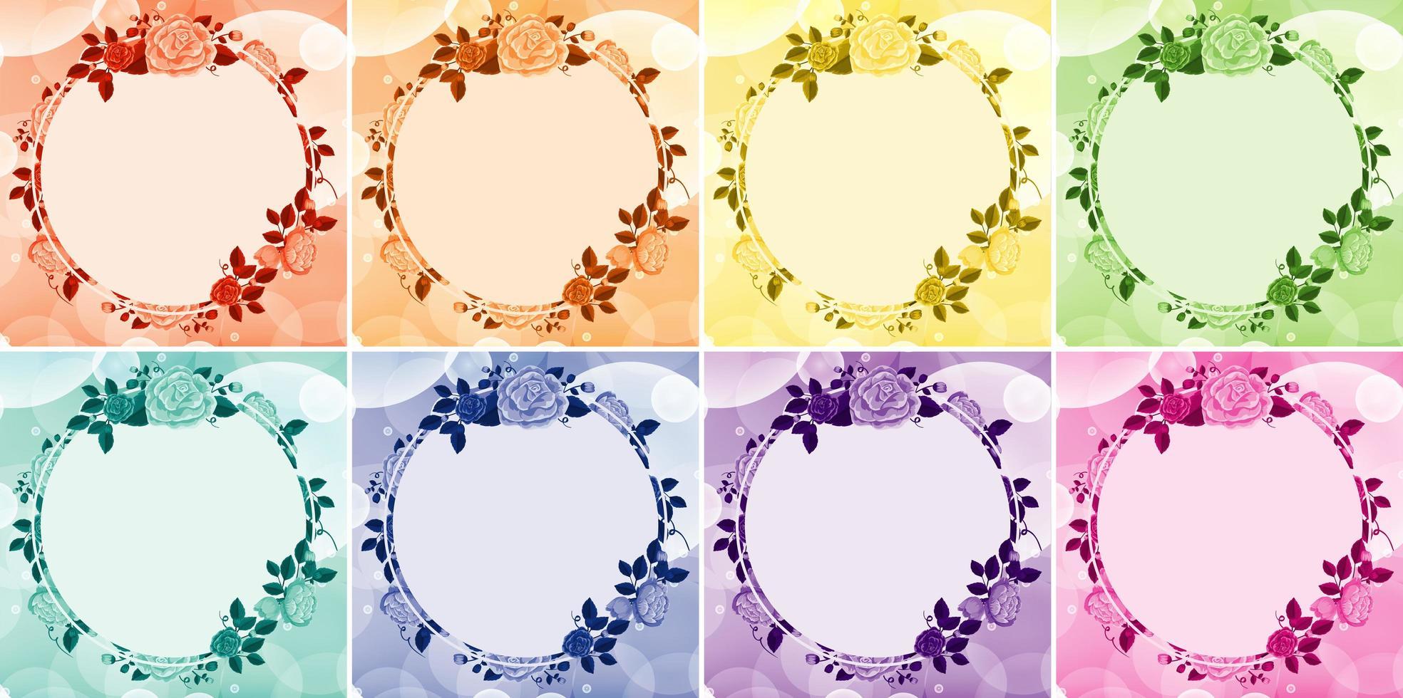 design de fond avec des cadres de fleurs en huit couleurs vecteur