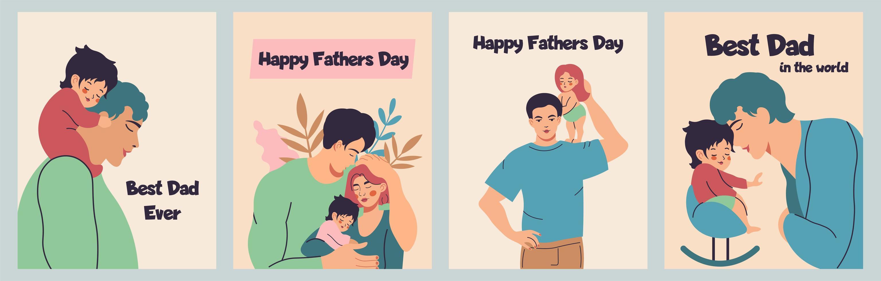 ensemble père et petit fils ou fille vecteur