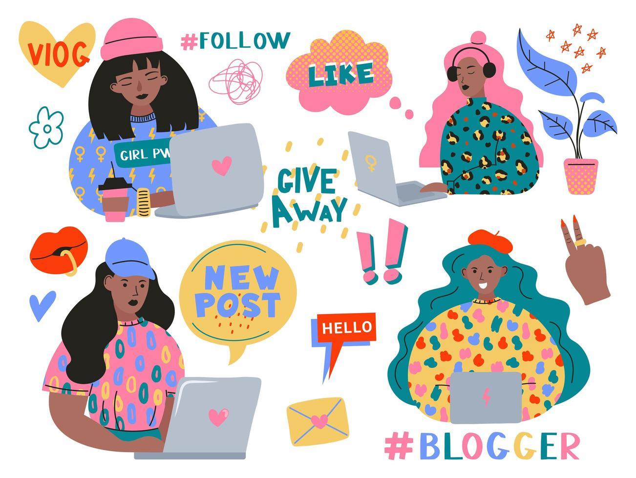jolies filles drôles ou blogueurs avec ordinateur portable vecteur