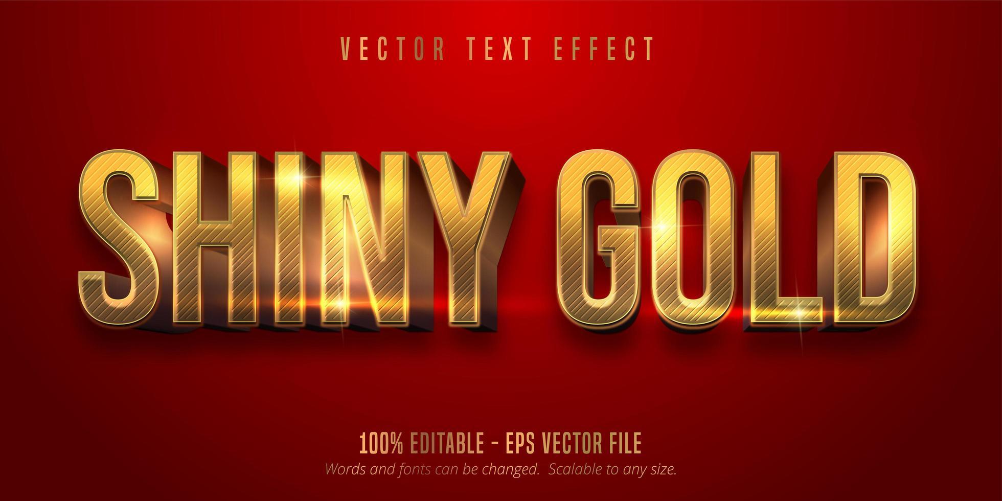 couleur rouge et texte modifiable de style or brillant vecteur