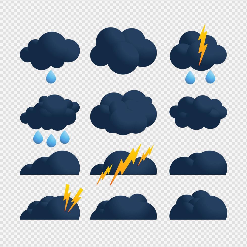 jeu d'icônes bleu nuage et boulon d'orage vecteur