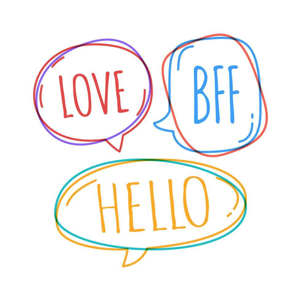bulles de doodle avec amour, bff, bonjour à l'intérieur vecteur