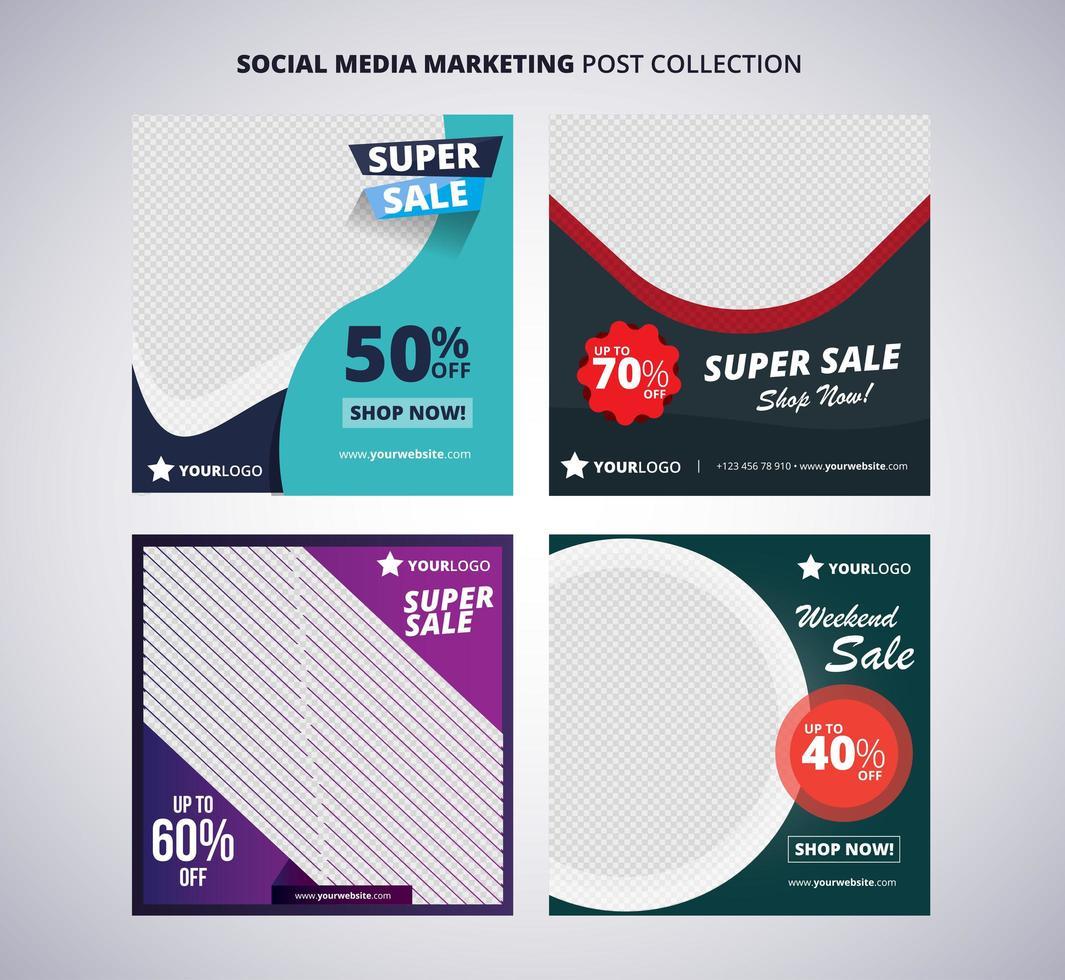 ensemble de quatre publications sur les réseaux sociaux vecteur