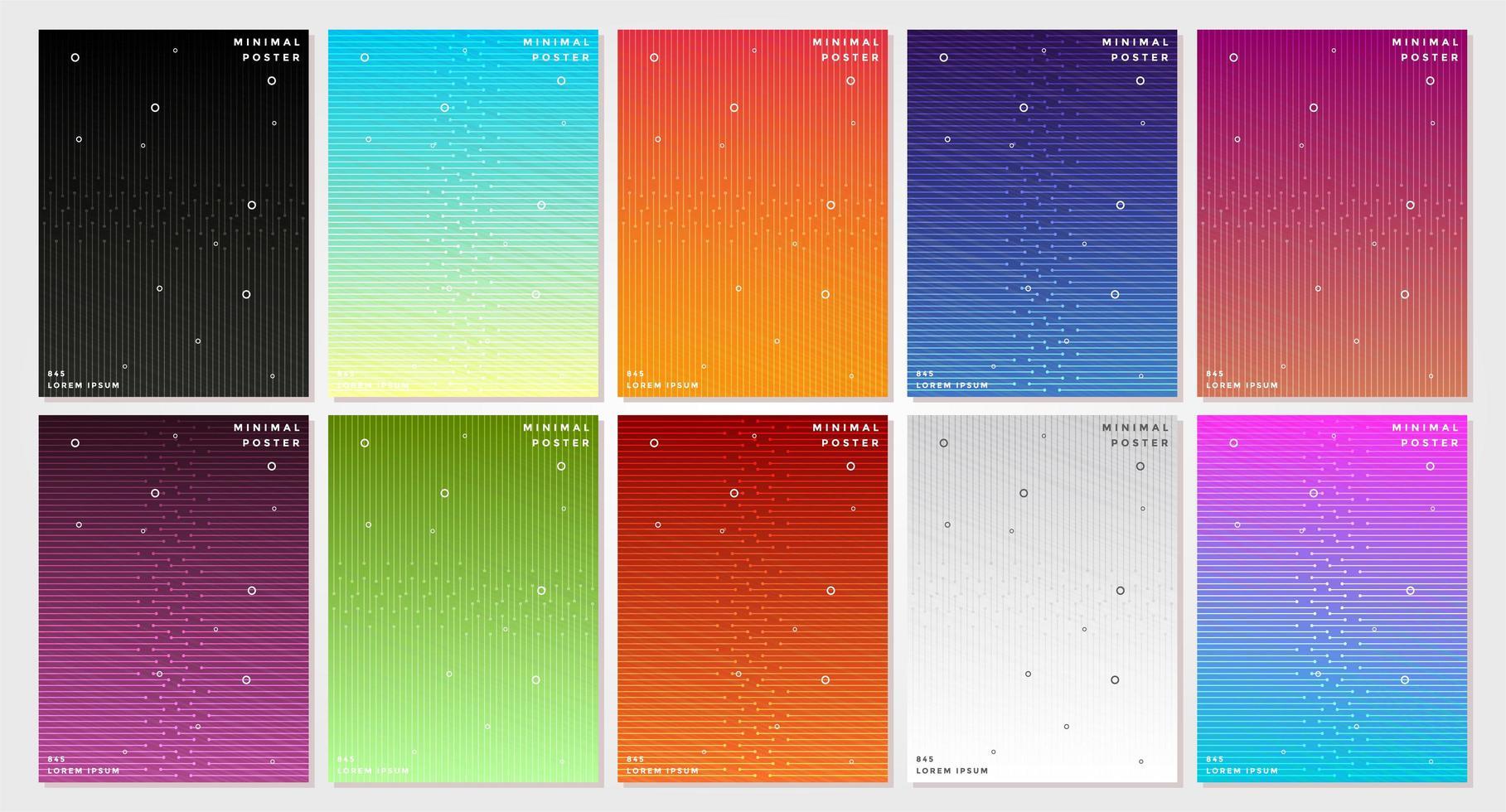 ensemble de couvertures de lignes de verrouillage colorées abstraites vecteur