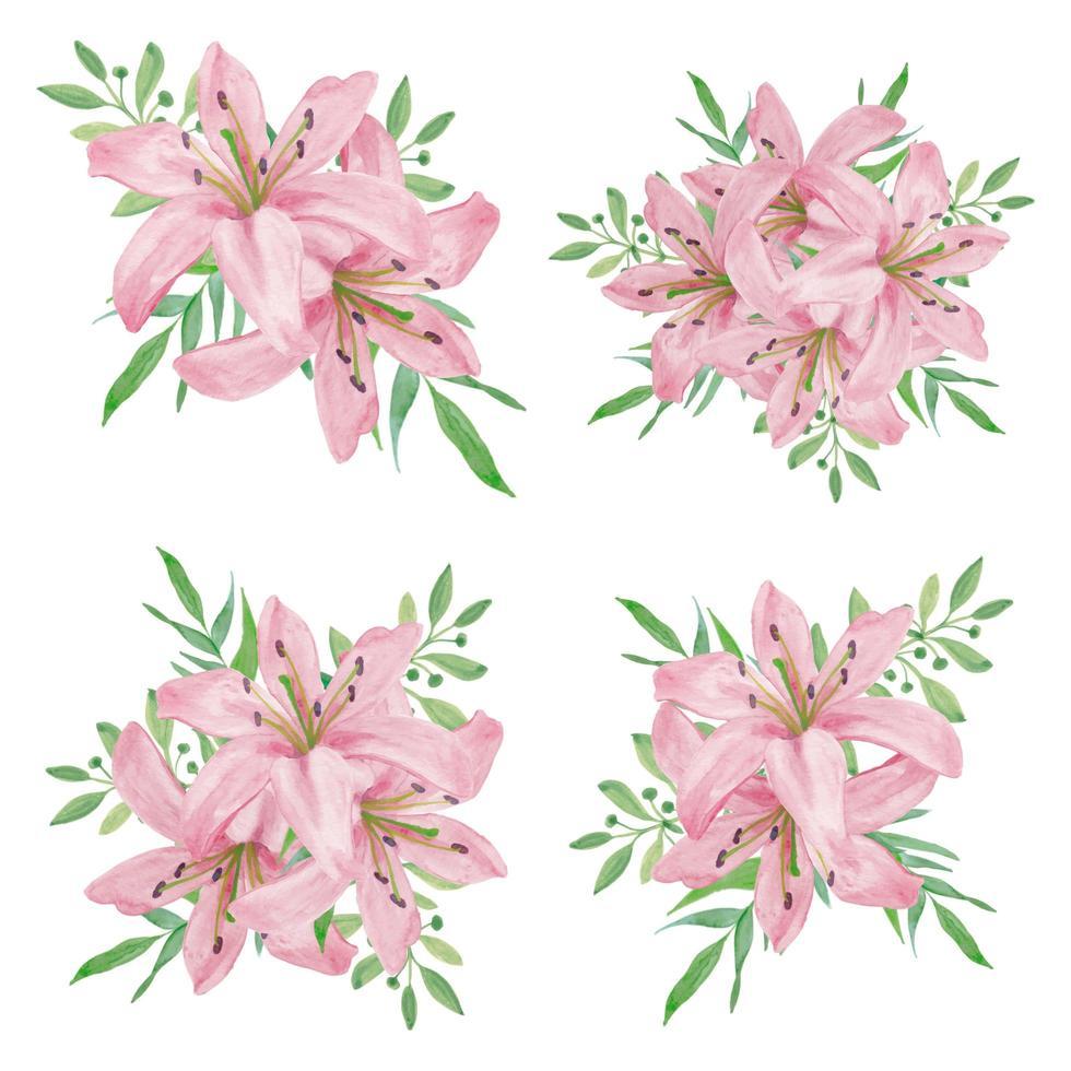 collection de bouquet de fleurs de lys rose aquarelle vecteur