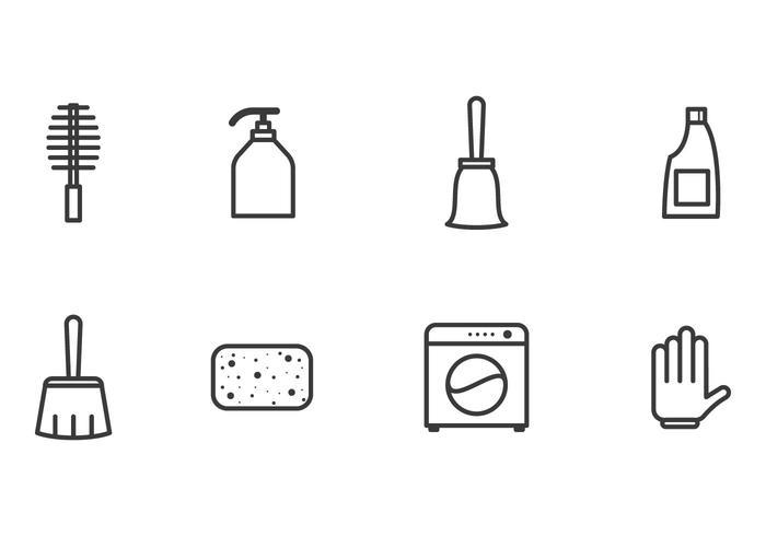 Vecteurs d'icônes de nettoyage simples vecteur