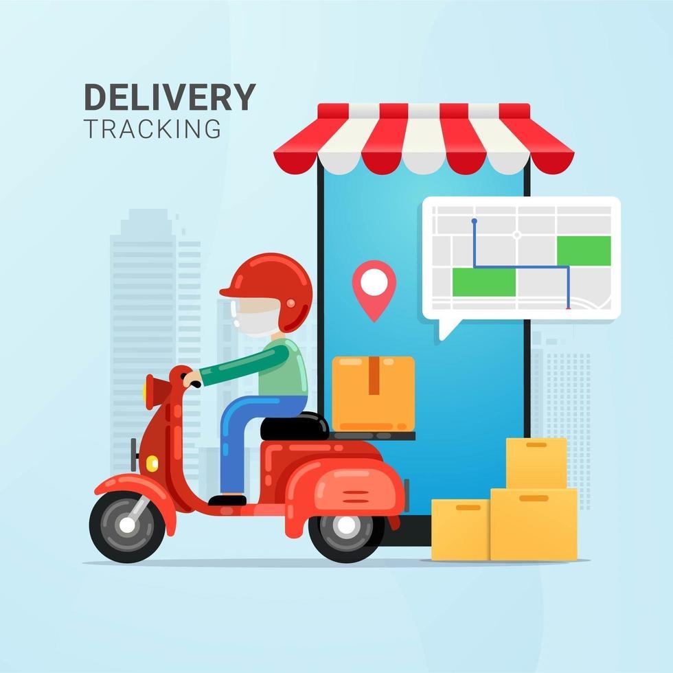 suivre l'ordre de livraison sur l'appareil mobile vecteur