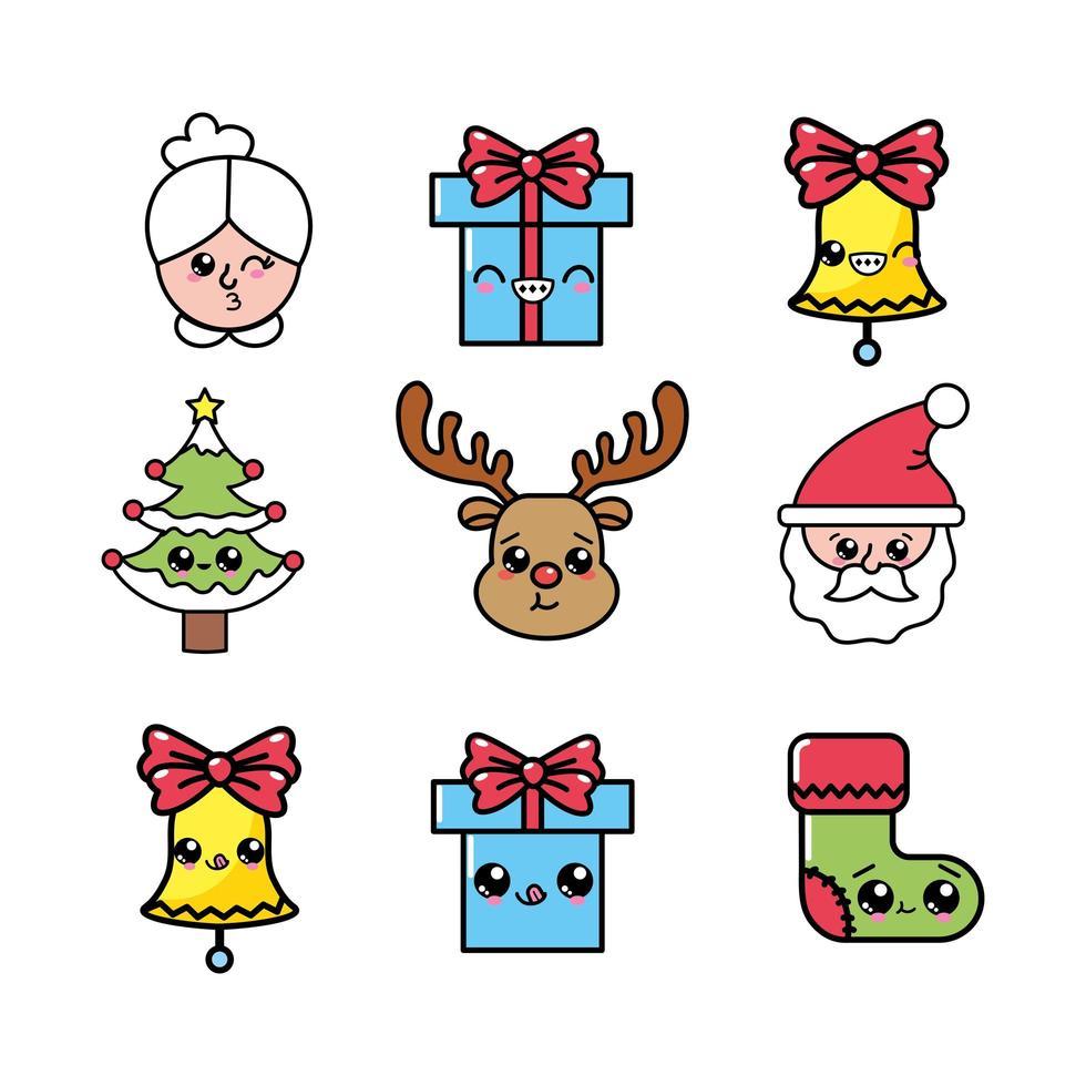 définir des icônes de célébration de joyeux Noël vecteur