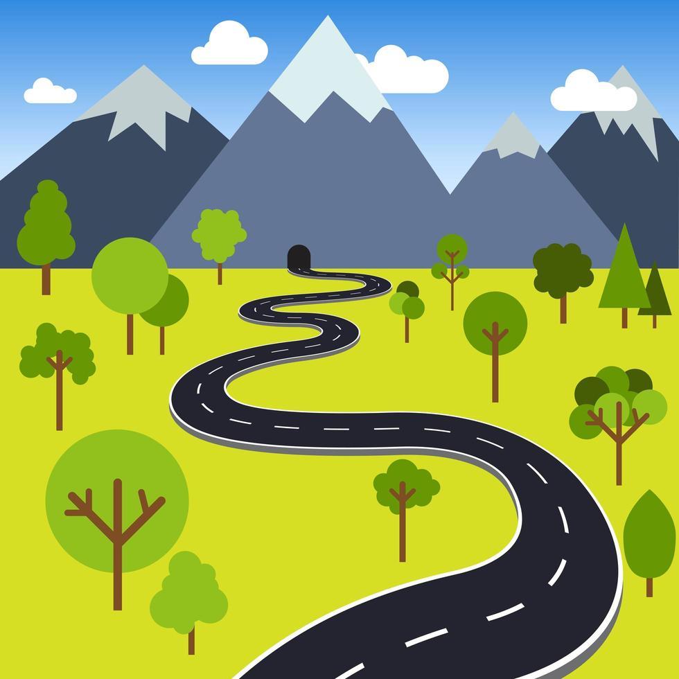 route vers le tunnel de montagne vecteur